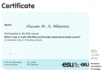 ESU Certificate of Participation «What's new in male infertility and (locally) advanced prostate cancer?»