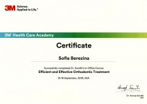 Certificate of course completion «Efficient and Effective Orthodontic Treatment»