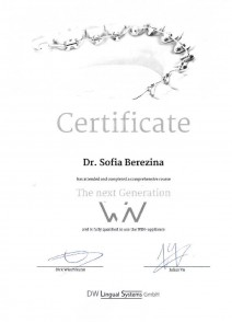 Certificate of WIN course completion «The next Generation»